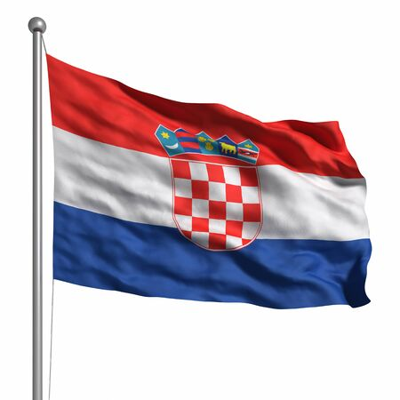croatia: Flag of Croatia. Rendered with fabric texture