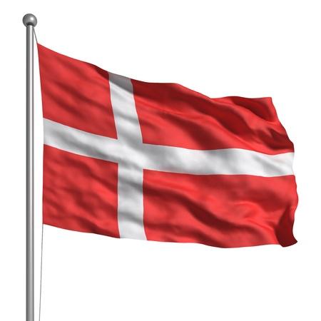 Vlag van Denemarken (gescheiden) Stockfoto