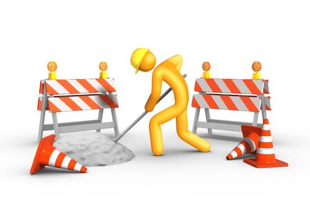 traffic barricade: Under construction Stock Photo