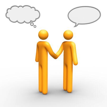 bonhomme allumette: penser et de parler le ballon ensemble, vous pouvez utiliser qui vous voulez. Banque d'images