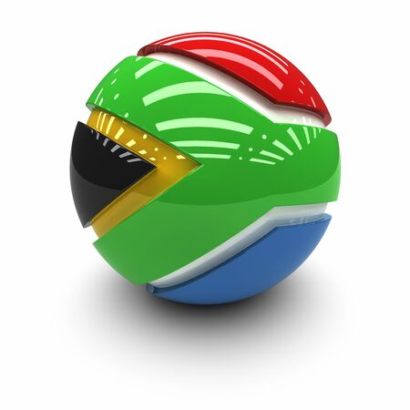 south africa flag: 3D  - Flag of South Africa
