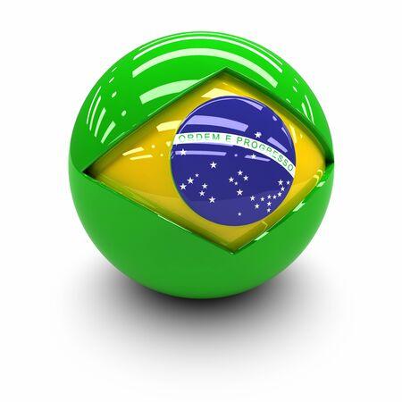 the 3d: 3D - Bandera de Brasil Foto de archivo
