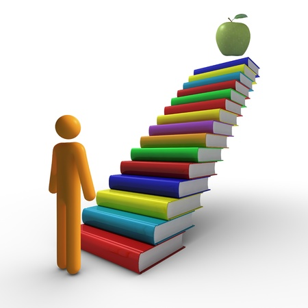 3D Figurine and a Flight of Books as Staircase reaching for Apple at the top Stock Photo - 9710496