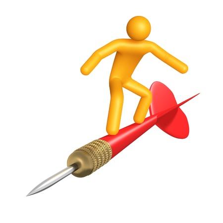 Stick figure on dart (isolated)