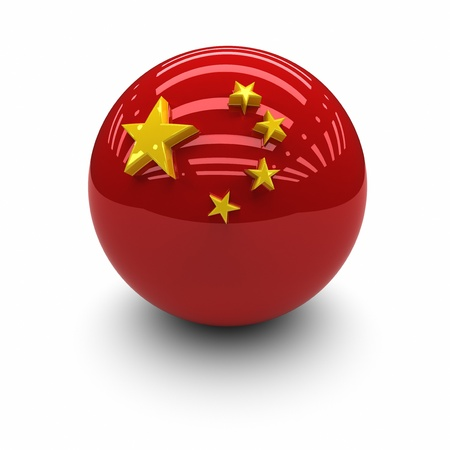 red sphere: 3D  - Flag of The China