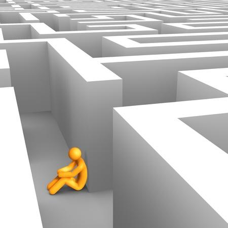 Wanhopig in de Maze. Stockfoto