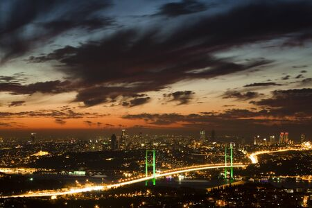 led lighting: Bosphorus Bridge Stock Photo