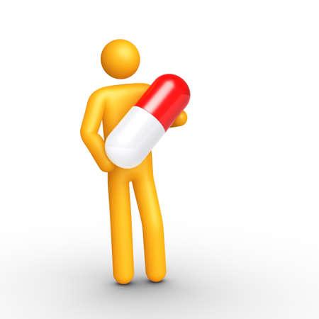 strichm�nnchen: Strichm�nnchen holding Pille (isoliert) Lizenzfreie Bilder