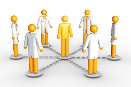 cartoon hospital: Healthcare network (isolated) Stock Photo