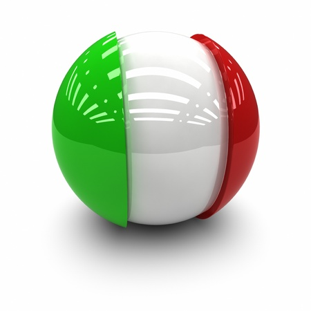 red sphere: 3D  - Flag of Italy Stock Photo