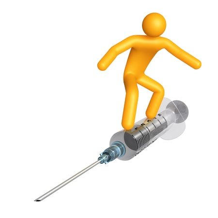 Stick figure on syringe (isolated) Stock Photo - 9711157