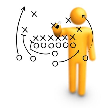 Strichmännchen American-Football-Trainer Strategie