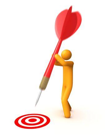 Stick figure with dart Stock Photo - 9711154