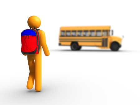 Getting on the school bus photo