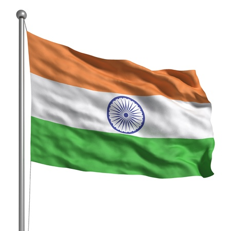 india 3d: Flag of India (Isolated) Stock Photo
