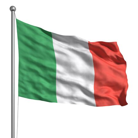 flag pole: Flag of Italy (Isolated) Stock Photo
