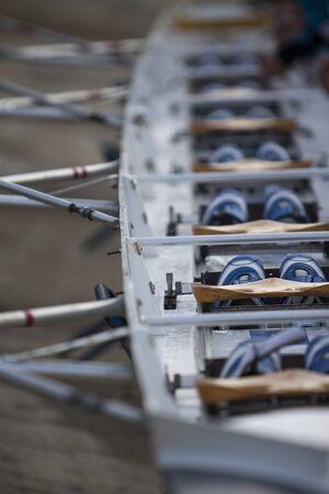 oars: Rowing canoe detail. Stock Photo