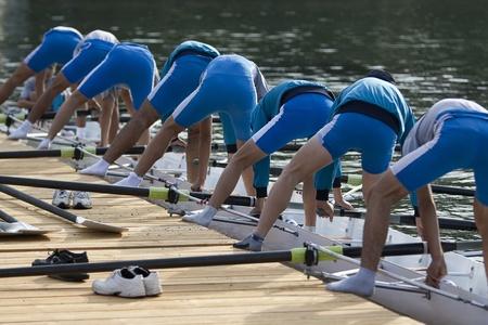 oar: Preparing canoe for the race
