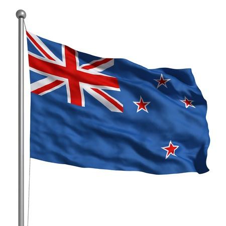 new zealand flag: Flag of the New Zealand (Isolated) Stock Photo