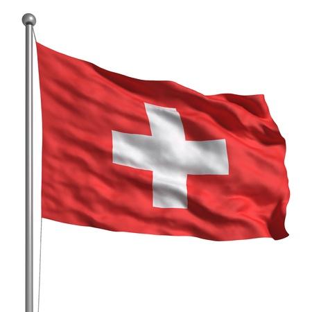 3d cg: Flag of Switzerland (Isolated) Stock Photo