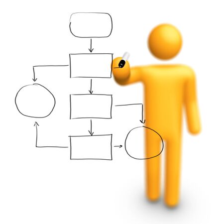 organigramme: B�ton Figure dessin vide Organigramme Banque d'images