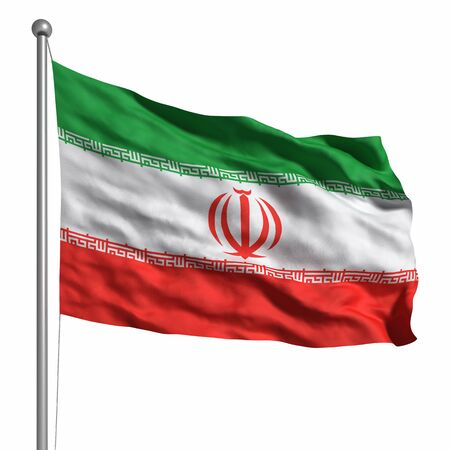 Flag of Iran. Rendered with fabric texture (visible at 100%). Clipping path included.