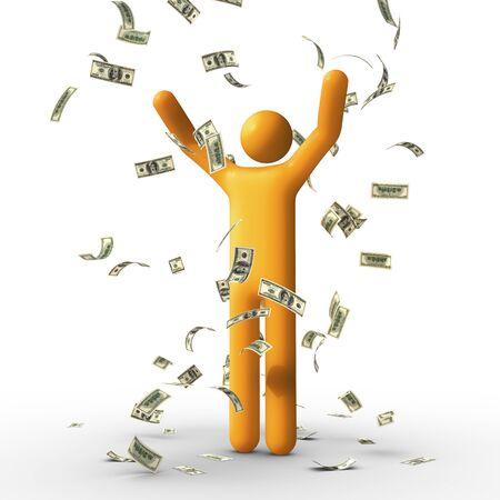 bonhomme allumette: Pluie de dollar. Banque d'images