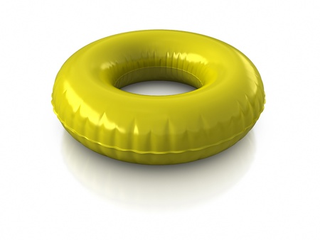 float: 3d rendered inner tube on white background.