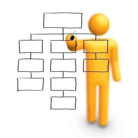 organigramme: Stick Figure dessin vide Organigramme Banque d'images