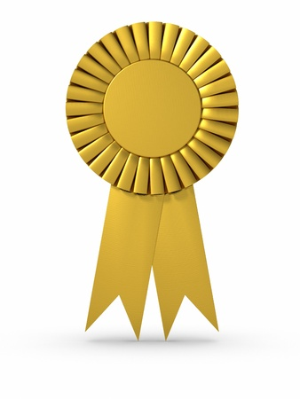 3D rendered Gold ribbon/Award. Clipping path included.