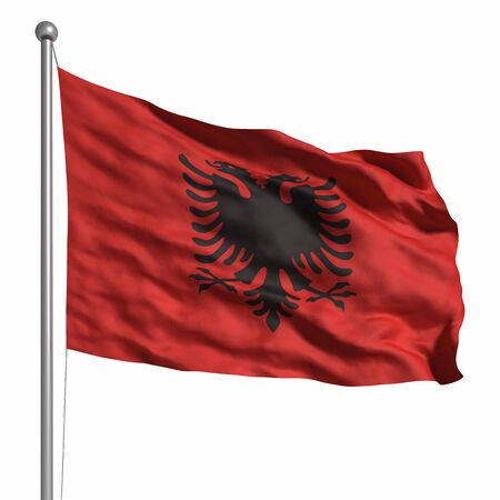 Flag of Albania. Rendered with fabric texture (visible at 100%). Clipping path included. photo