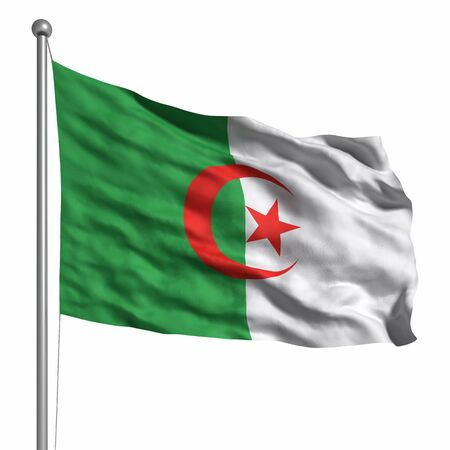 Flag of Algeria. Rendered with fabric texture (visible at 100%). Clipping path included. Stock Photo - 9809164