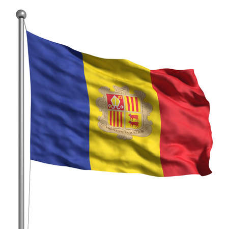 Flag of Andorra. Rendered with fabric texture (visible at 100%). Clipping path included. Stock Photo - 9809014