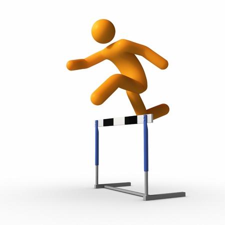 Jumping over hurdle.