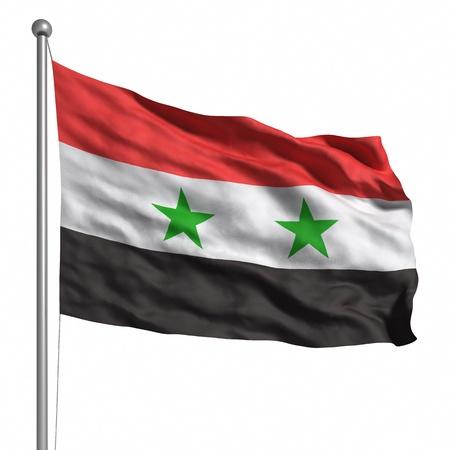 Vlag van Syrië. Gesmolten met stof textuur (zichtbaar op 100%). Uitknippad opgenomen.