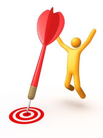 Stick figure with dart  Stock Photo