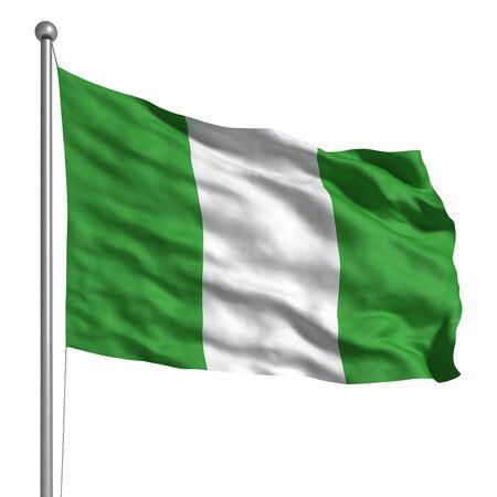 nigeria: Flag of Nigeria (Isolated) Stock Photo