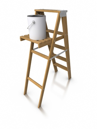 step ladder: 3d Step ladder and paint bucket Stock Photo