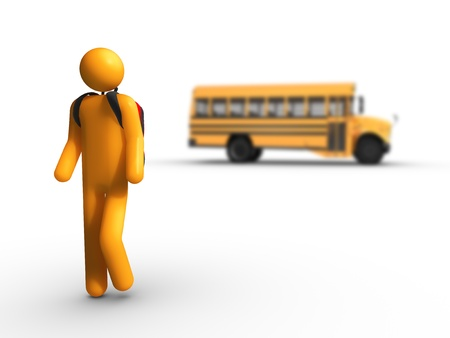 Getting off the school bus photo