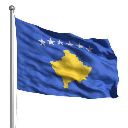 Flag of Kosovo. Rendered with fabric texture (visible at 100%). Clipping path included. photo