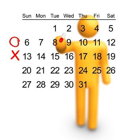 Stick Figure planning. Empty calendar, you can choice which date you want. Stock Photo