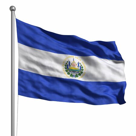 Flag of El Salvador. Rendered with fabric texture  photo