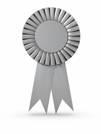3D rendered Silver ribbon/Award. Clipping path included.