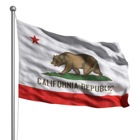 Flag of California. Rendered with fabric texture  photo