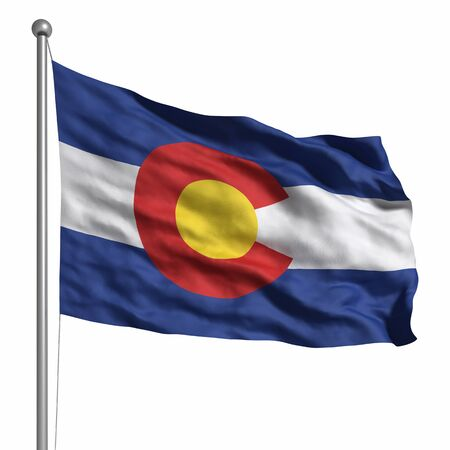 colorado flag: Flag of Colorado. Rendered with fabric texture