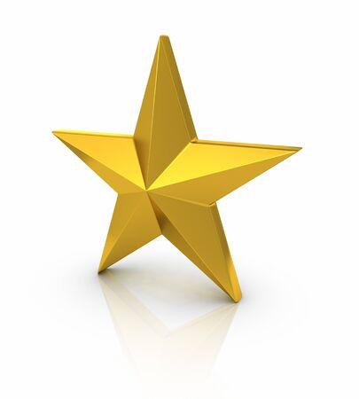 Brushed Gold Star on white background.