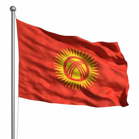 kirgizia: Flag of Kyrgyzstan. Rendered with fabric texture