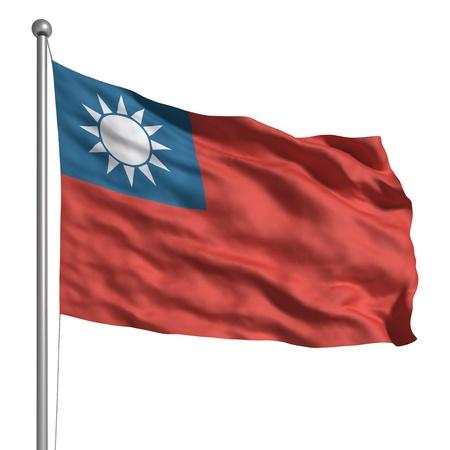 Drapeau de Taiwan (isolé) Banque d'images - 9942909