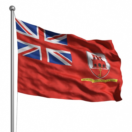 Flag of Gibraltar. Rendered with fabric texture  photo