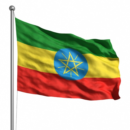 Flag of Ethiopia. Rendered with fabric texture (visible at 100%). Clipping path included. Stock Photo - 9943017